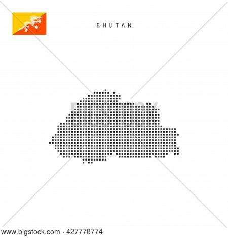Square Dots Pattern Map Of Bhutan. Bhutanese Dotted Pixel Map With National Flag Isolated On White B