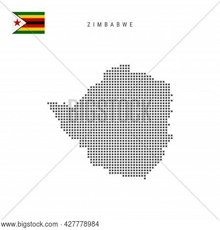Square Dots Pattern Map Of Zimbabwe. Zimbabwean Dotted Pixel Map With National Flag Isolated On Whit