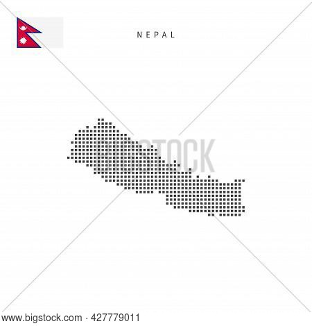 Square Dots Pattern Map Of Nepal. Nepali Dotted Pixel Map With National Flag Isolated On White Backg