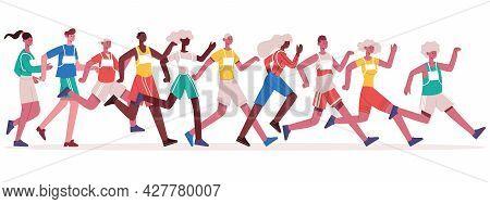 Marathon Running People. Jogging Athletes Group, Sprinting Men And Women Isolated Vector Illustratio