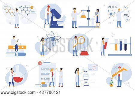 Scientist Characters. Chemical Researchers, Biologists Or Laboratory Workers, Science Medical Worker