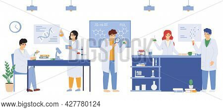Scientific Laboratory. Science Research Laboratory Workers, Male And Female Researchers Wearing Whit