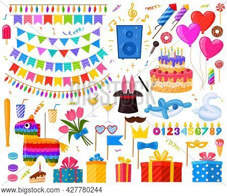 Happy Birthday Surprise Party Cartoon Presents And Sweets. Birthday Cake, Gifts And Pinata Vector Il