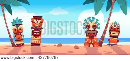 Tiki Totem On Beach. Hawaiian And African Tropical Landscape With Ritual Statues On Ocean Shore. Sce
