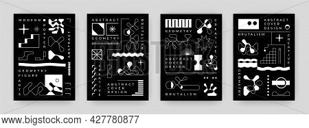 Text Posters. Abstract Modern Banners With Contemporary Typography And Brutalism Minimalistic Shapes