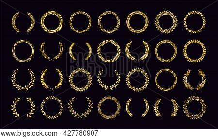Golden Wreath. Nomination Trophy And Award Winning Symbols. Academy Diploma Or Certificate Signs. Is