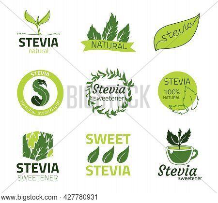 Stevia Logo. Sweet Sugar Free Extract Labels. Natural Organic Food Product Emblems Templates. Isolat