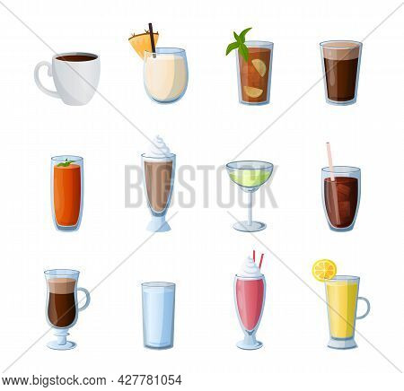 Cartoon Drinks. Hot And Cold Beverages. Alcohol Cocktails. Coffee Or Tea. Isolated Glasses For Lemon