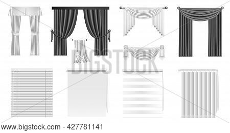 Blind Curtains. Realistic Window Vertical Roll And Interior Drapery Mockup. Plastic And Aluminum Sun