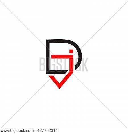 Letter Dj Simple Geometric Linked Line Logo Vector