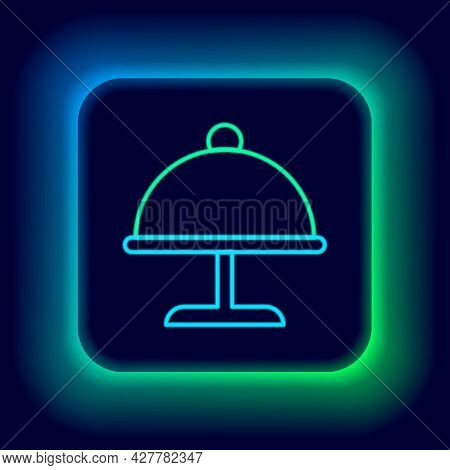 Glowing Neon Line Covered With A Tray Of Food Icon Isolated On Black Background. Tray And Lid. Resta