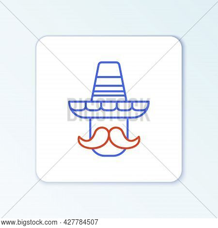 Line Mexican Man Wearing Sombrero Icon Isolated On White Background. Hispanic Man With A Mustache. C