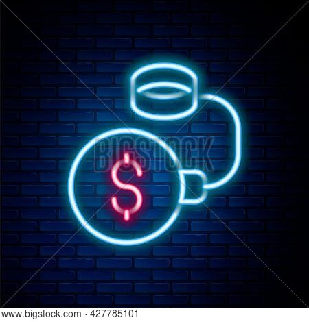 Glowing Neon Line Debt Ball Chained To Dollar Coin Icon Isolated On Brick Wall Background. Big Heavy