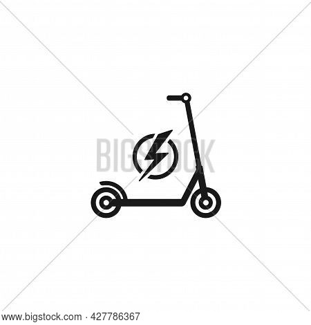 Black Kick Scooter Or Balance Bike With Lightning Bolt Icon. Flat Push Scooter Isolated On White. Ve