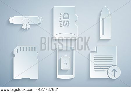 Set Smartphone Battery Charge, Bullet, Sd Card, Upload File, Micro Memory And Diploma Rolled Scroll