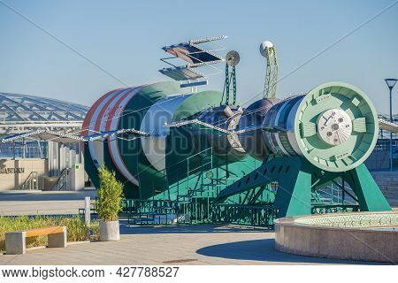 Kaluga, Russia - July 07, 2021: Two Space Stations Salyut And Soyuz On The State Museum Of Cosmonaut