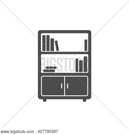 Bookcase Silhouette Vector Icon Isolated On White. Bookshelf Furniture Icon For Web, Mobile Apps, Ui