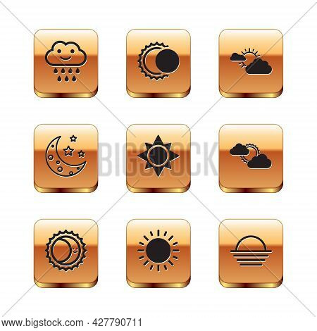 Set Cloud With Rain, Eclipse Of The Sun, Sun, Moon And Stars, Cloud Weather, Sunset And Icon. Vector
