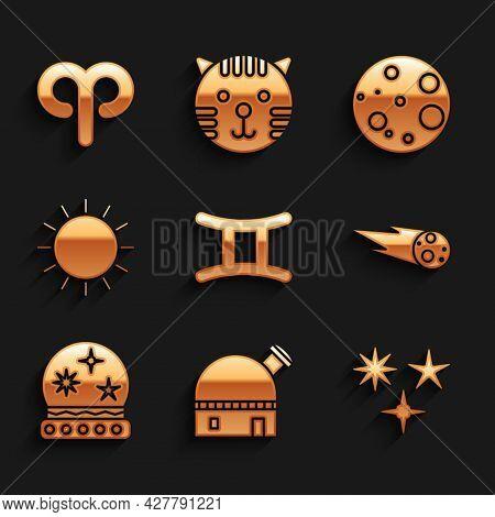 Set Gemini Zodiac, Astronomical Observatory, Falling Star, Comet Falling Down Fast, Magic Ball, Sun,