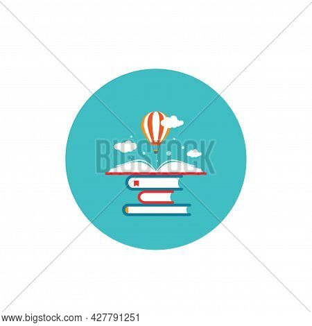 Open Book With Air Balloon And Clouds In Blue Circle. Vector Flat Education Icon Isolated On White.