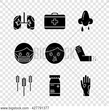 Set Lungs, First Aid Kit, Runny Nose, Wheat, Medicine Bottle And Pills, Hand With Psoriasis Or Eczem