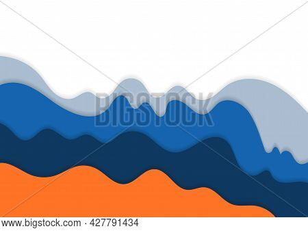 Abstract Minimalist Design Of Wavy Colorful Pattern Artwork. Overlapping Design For Cover Presentati