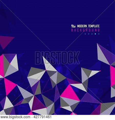 Abstract Multi Colors Design Of Triangles Tech Futuristic Cover. Overlapping For Headline Style Back