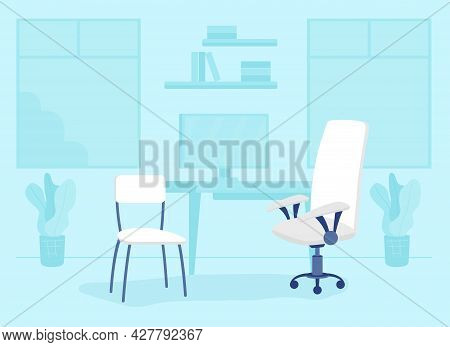 Consulting Room In Health Facility Flat Color Vector Illustration. Office Room Furniture. Performing