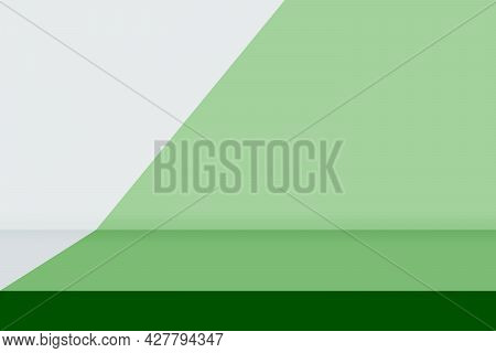 Abstract Image Of Empty Space Studio Room Green And Gray Gradient Background.