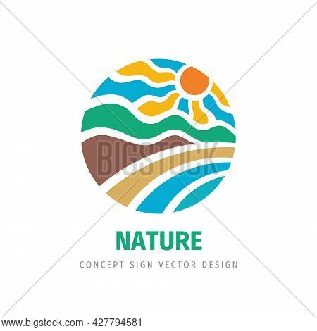 Travel - Concept Business Logo Template Vector Illustration. Summer Vacation Abstract Sign In Circle