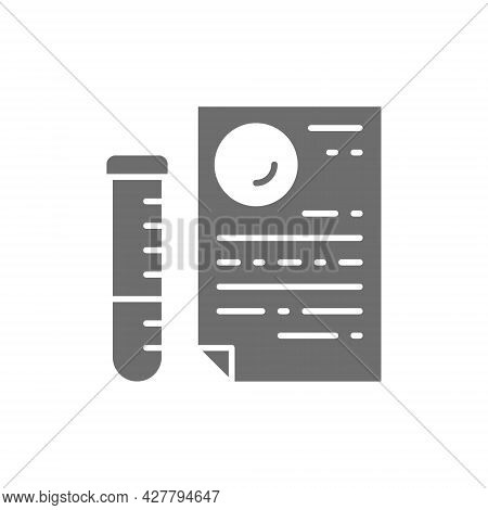 Medical Glass Tube With Document, Dna Tests, Paternity Test Result Grey Icon.