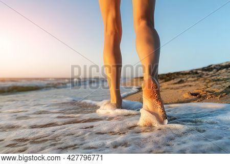 Close Up Detail Bottom Behind Pov View Of Pretty Female Person Barefoot Legs Heel Walking By Scenic