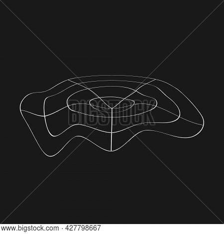Retrofuturistic Perspective Polar Grid With Liquid Distortion. Digital Cyber Retro Design Element. G