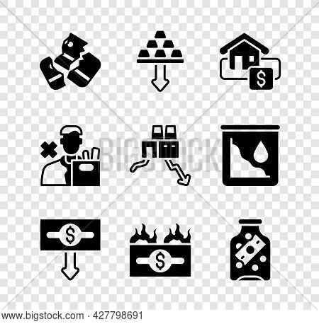 Set Credit Card, Gold Bars, Hanging Sign With Sale, Dollar Rate Decrease, Burning Dollar Bill, Glass