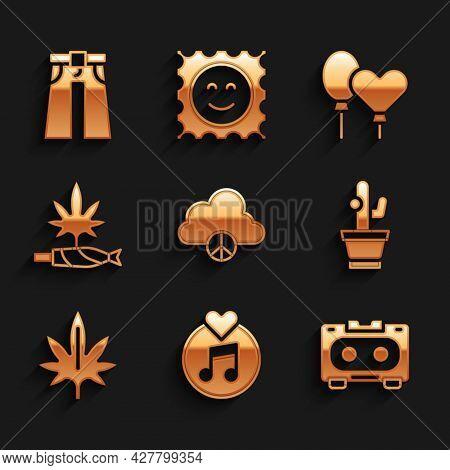 Set Peace Cloud, Vinyl Disk, Retro Audio Cassette Tape, Cactus, Marijuana, Joint, Spliff, Balloons A