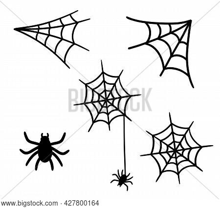 Vector Spider Web And Small Spider Isolated On A White Background. Icon