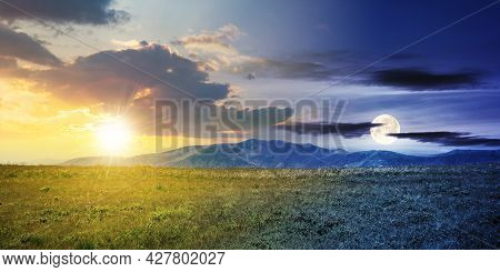 Day And Night Time Change Concept Above Alpine Mountain Meadow In Summer. Beautiful Landscape Of Car