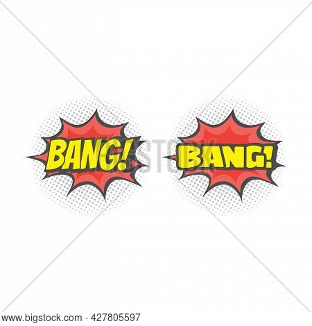 Bang Lettering Explosion Cartoon. Colorful Halftone Comic Vector.
