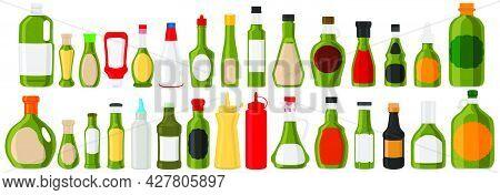 Illustration Big Kit Varied Glass Bottles Filled Liquid Sauce Jalapeno