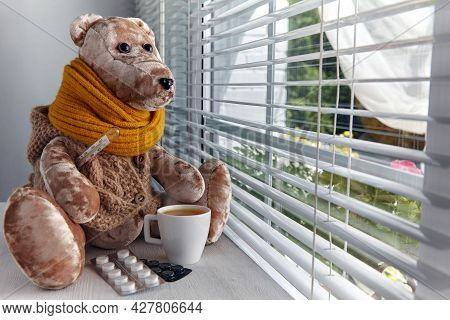 Teddy Bear With A Sore Throat And The Flu Drinks Pills