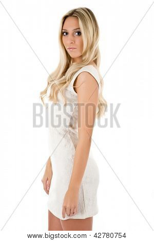 Attractive blonde in white short dress