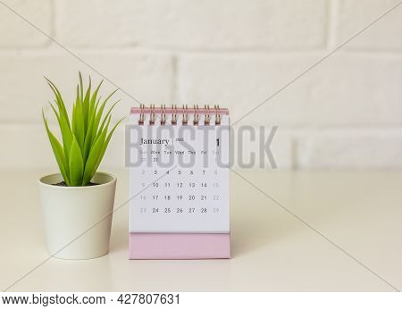 Calendar For January 2022 . Desktop Calendar On A Light Background.hello, 2022