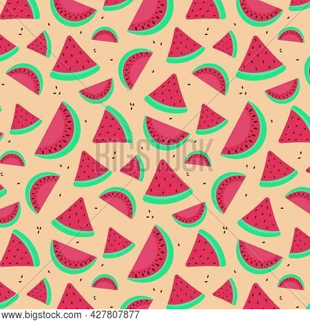 Seamless Pattern Of Fruit Watermelon. Illustration For Wall Paper, Wrapping Paper, Textile, Backgrou