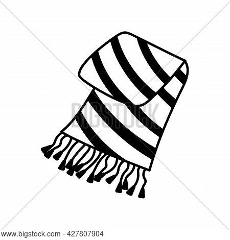 Warm Cozy Woolen Plaid Blanket Fringed For Cold Autumn Weather. Seasonal Fall Symbol In Doodle Style