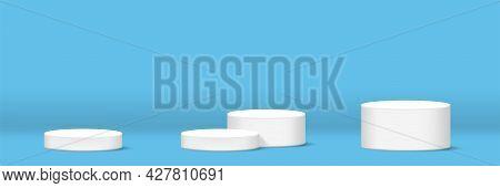 Cylinder Podium For Make-up Product Display, Light Blue Banner Background Horizontal, Podium Stage S