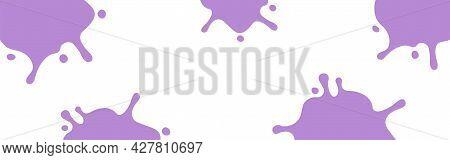Purple Milk Splash On White For Banner Background, Milky Splatter Purple For Background, Copy Space,