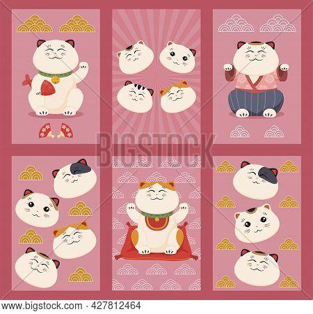 Set Of Japanese Lucky Cat Vertical Poster Vector Flat Cartoon Illustration Asian Feline Luck Mascot