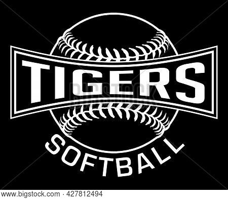 Tigers Softball Graphic-one Color-white Is A White On Black Sports Design Which Includes A Softball