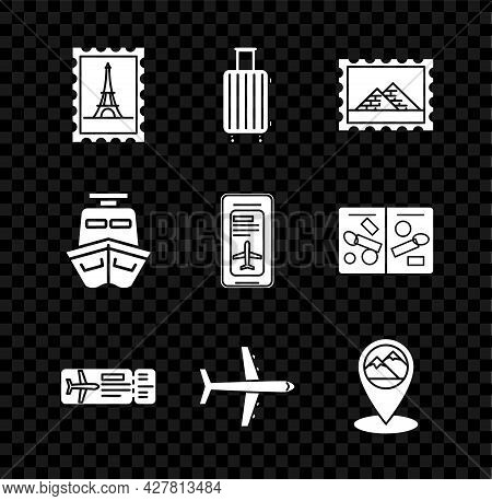Set Postal Stamp And Eiffel Tower, Suitcase For Travel, Egypt Pyramids, Airline Ticket, Plane, Map P