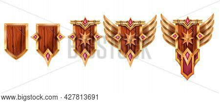 Level Up Game Badge Set, Vector Rank Award Medal Achievement Icon Kit, Ui Trophy Winner Prize On Whi